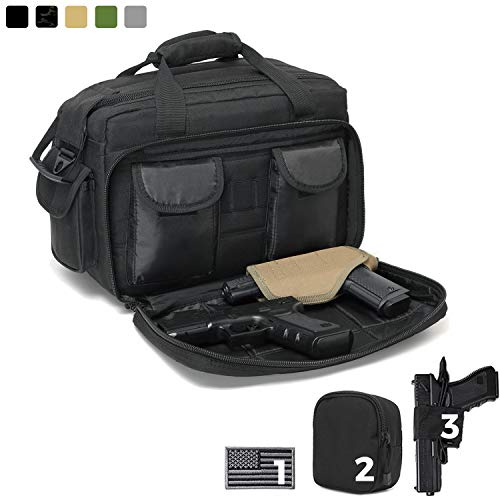 DBTAC Gun Range Bag Deluxe Middle Size | Tactical 2~4 Pistol Shooting Range Duffle Bag with Lockable Zipper for Handguns and Ammo (Black)