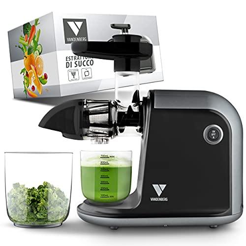Estrattore di succo Vandenberg – Estrattore silenzioso per frutta e verdura [150 W]- Estrattore elettrico di succo per preservare le vitamine con funzione Reverse, incl. spazzolino per la pulizia