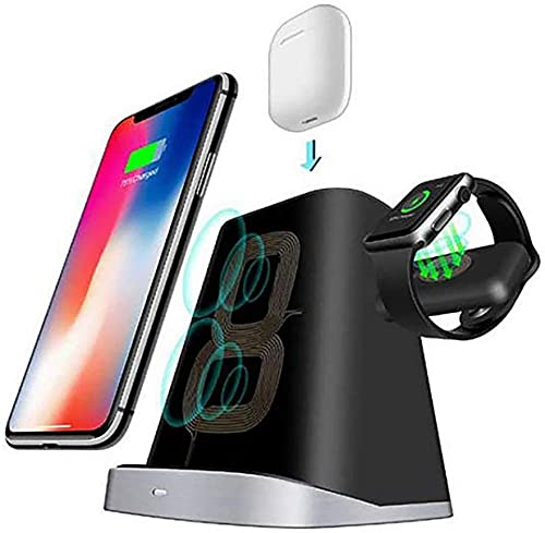 YAYY Cargador inalámbrico 3 en 1 Multifunción de la estación de Carga Soporte Vertical Compatible con iPhone y Apple Watch AirPods/Samsung Universal Wireless Charger Upgrade