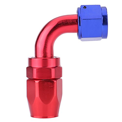 AN8 Ölkühleradapter, drehbar am Schlauchende der Kraftstoffleitung, blau und rot eloxiert(90°)