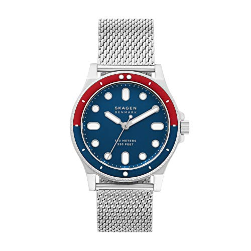 Skagen Men's Fisk Quartz Analog Stainless Steel and Stainless Steel Mesh Watch, Color: Silver, Blue (Model: SKW6668)