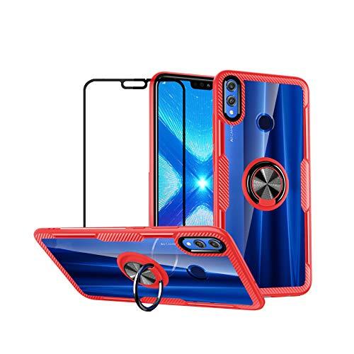 YFXP Funda Compatible con Huawei Honor 8X MAX Trasparente PC Case con Anillo de Soporte Giratorio + Cristal Templado