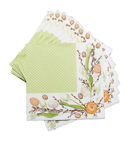 artwelten Papier Servietten für Ostern 40 Stk – 3-lagig Grüne Elegante Oster Servietten – Serviettentechnik Ostereier