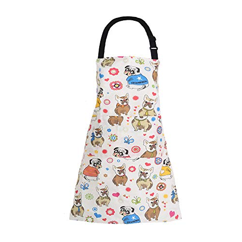 MissOwl Adjustable Home Kids Artists Aprons with Pockets Cute Animal Print Child Kitchen Bib Aprons for Boys and Girls Cooking Baking Painting Dog