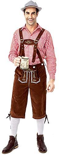COSAVOROCK Disfraz de Alemán Oktoberfest Bávaro para Hombre Tradicional Pantalones e Camisa (XL, Marrón)