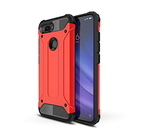 MIFanX Xiaomi Mi 8 Lite Case, Soft TPU Internal + Hard PC Back Cover Hybrid Dual Shockproof Protective Cover for Xiaomi Mi 8 Lite (Red)
