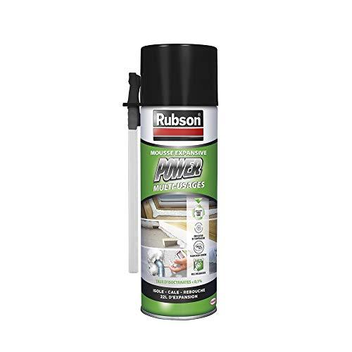 Rubson Mousse Expansive Power, Mousse pour isolation acoustique et thermique pour remplissage de cavité et calage d'objets, Mousse multi-usages blanche 500 ml