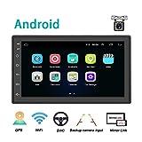 Android Coche Radio 2 DIN GPS CAMECHO 7 Pulgadas capacitiva Pantalla táctil Completa Bluetooth WiFi Reproductor de Radio FM Duplicar Pantalla para teléfonos iOS Android + Cámara de Respaldo