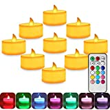 2.2 Inch Colorful Flickering Tea Light Flameless Candle, Battery Operated Led Candles with Remote, Electric Candles for Votive Holder, Wedding Seasonal Festival Lights Celebration, Amber Warm