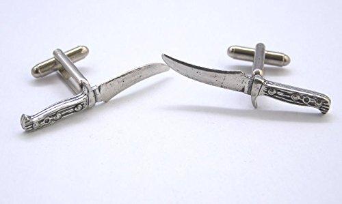 Boutons de Manchette Couteau de Chasse (avec Boîte à Cadeau)