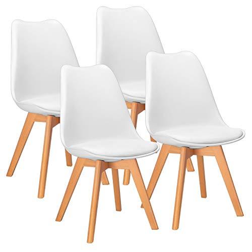 JUMMICO Esszimmerstühle Küchenstuhl Polsterstuhl mit Massivholz Beine Schminktischstühle Retro Design (Weiß)