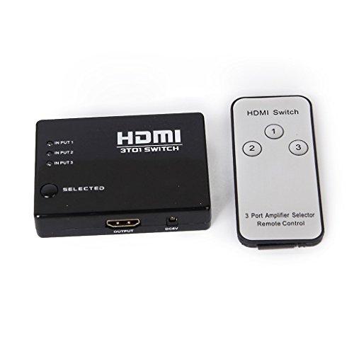 BigPlayer 3 Port HDMI Switcher Splitter Switch Box with Remote Control