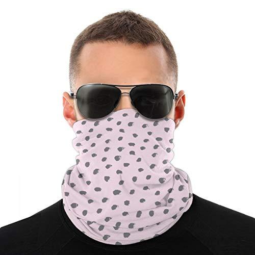 Diadema unisex con puntos negros, fondo rosa, multifunción, poliéster, de secado rápido, suave, pañuelo para el cuello, bufanda, pañuelo de viaje, bufanda, máscara, cuello, polaina, para hombres y mujeres