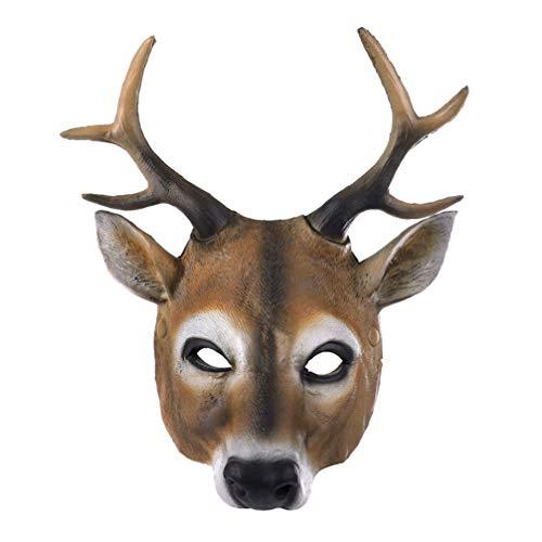 AMOSFUN Hirsch Maske Halloween realistische Tier Gesichtsmaske Rentier Pu Maske Tier Cosplay Kostüm Requisiten für Maskerade Halloween Tier Parteien / Tänze / Karneval