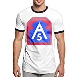 Vanesa Joyce United States Army North Fifth Army Logo Mens Short Sleeve tee Sports T Shirt Contrast(M,Black)