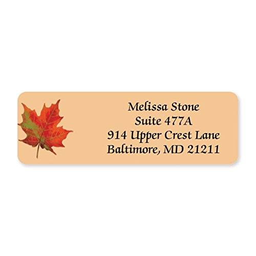 Vibrant Foliage Designer Rolled Address Labels - 250 Labels per Roll - 2 1/2 Inches Long x 3/4 Inch High - Elegant Plastic Dispenser Included