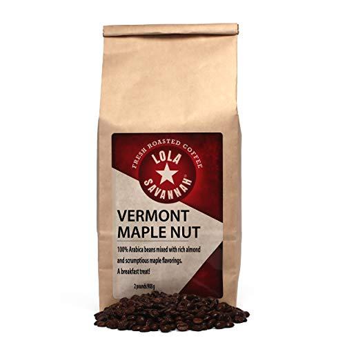 Lola Savannah Vermont Maple Nut Whole Bean Coffee - Arabica Beans with Just A Hint Of Nut Flavor   Caffeinated   2lb Bag