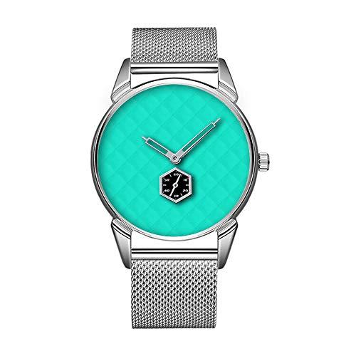 Mode wasserdicht Uhr minimalistischen Persönlichkeit Muster Uhr -871. Tiffany Aqua Blue Quilted Muster