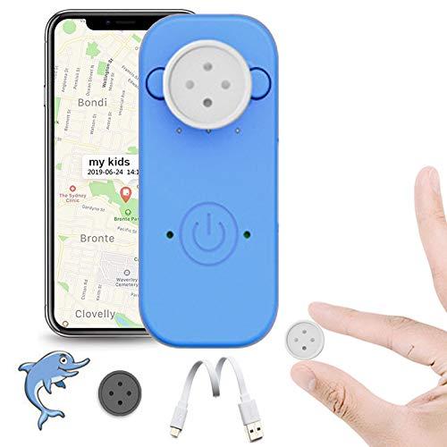 Smart GPS Tracker, Mini Dispositivo de rastreo GPS para niños con decoración de Botones, posicionamiento en Tiempo Real para niños Mayores,Azul