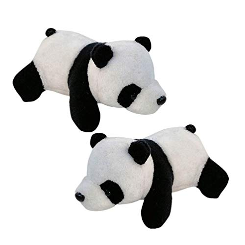 Holibanna 2Pcs Broche Pin Mini Plush Panda Breastpin Animal Toys Regalo para Niñas Familia Amigos Mochila Ropa Bolsas (Negro Blanco)