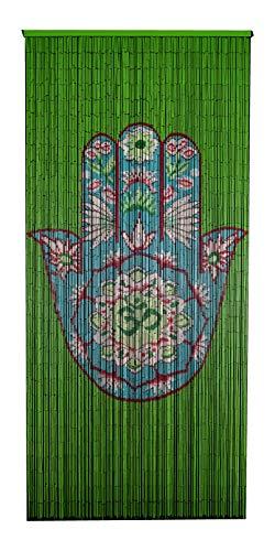 Beaded Bamboo Curtain-Green Hamsa