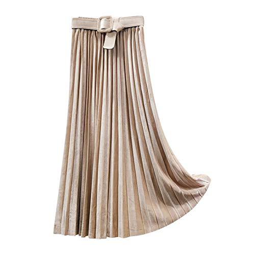 BXzhiri Women Spring Belt Elastic High Waist Long Mesh Skirt Womens Pleated