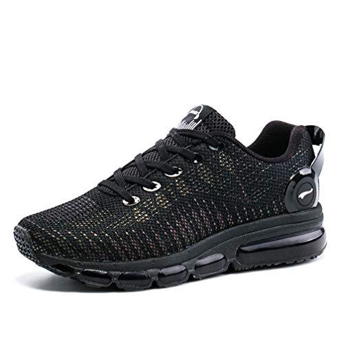 ONEMIX Herren Damen Laufschuhe Luftpolster Sportschuhe Straßenlaufschuhe Sneaker Bunte Reflexionen Fitness Walkingschuhe 1216A Black 37