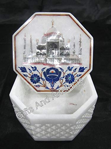 Caja de brazalete de mármol blanco de 4 pulgadas Taj Mahal réplica con incrustaciones de caja de la baratija con la madre del trabajo de la perla