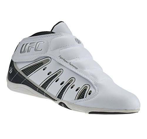 Mens UFC MMA Mid Hi Top Velcro Boxing Gym Sports Trainers Boys Boots Shoes Size[UK 4,White]