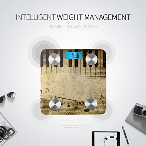 GIRLOS Music Notes On Old Paper Sheet Best Rated Bathroom Scales Scales Digital Weight Most Accurate Bathroom Scales Tracks 8 Key Compositions Analyzer Sync with Fitness Apps 400 Lbs