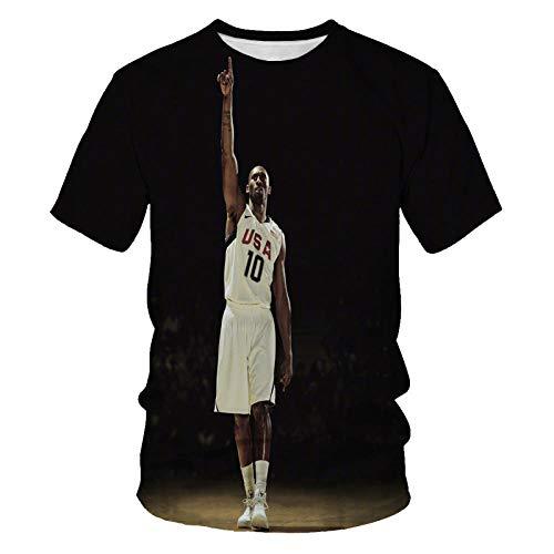 Mens T-Shirt Fashion Round Neck Sports T-Shirt Basketball Star Print Short-Sleeved T-Shirt Men's Casual Clothing-T3416_XXL