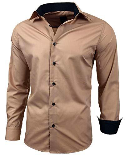 Baxboy Herren-Hemd Slim-Fit Bügelleicht Für Anzug, Business, Hochzeit, Freizeit - Langarm Hemden für Männer Langarmhemd R-44, Farbe:Beige, Größe:L