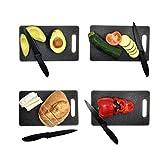 ALFIYA- Tabla de cortar y Cuchillo de cocina / calidad superior / resistente / cuchillos / lavable / inoxidable / vidrio / madera / plástico / mármol / Francia / carne / regalo / servicio de alimentos