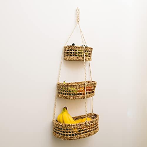 Fruit Hub -Hängender Obstkorb - Etagere zur Wandmontage -100% Natürlich. Zur Aufbewahrung von Obst und Gemüse, Obstkorb Wand, Obst Aufbewahrung, Hängekorb Obst, Obstkorb Hängend, Obstkorb Etagere