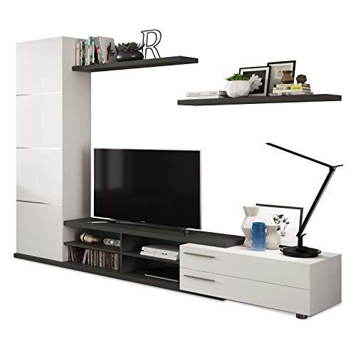 Habitdesign 016669G - Mueble de Comedor, Mueble Salon Moderno, Acabado en Gris Ceniza y Blanco Brillo, Medidas: 240 x 42 cm de Fondo