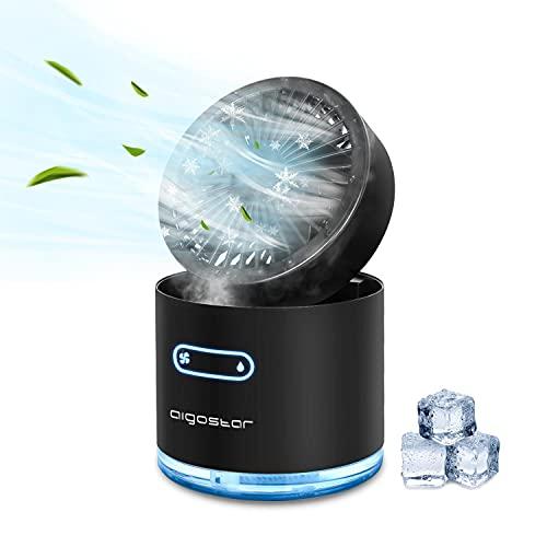 Aigostar Windgift - Mini ventilateur brumisateur de 300ml. Veilleuse 7 couleurs. 3 vitesses, 2 niveaux de brume. Pliable, arrêt automatique. Silencieux. Idéal maison, bureau, voyages