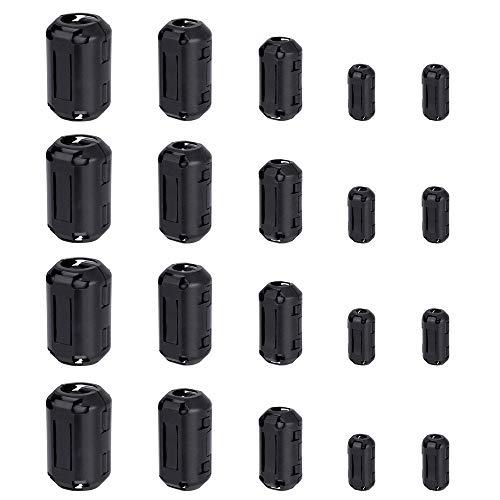 Kbnian 20pcs Núcleo de Ferrita, Ferritas para Cables 3.5mm/5mm/7mm/9mm/13mm, Ideal para Eliminar Interferencias y Ruidos en Cables USB, Mouse, Teclado, Auriculares, Video y Más