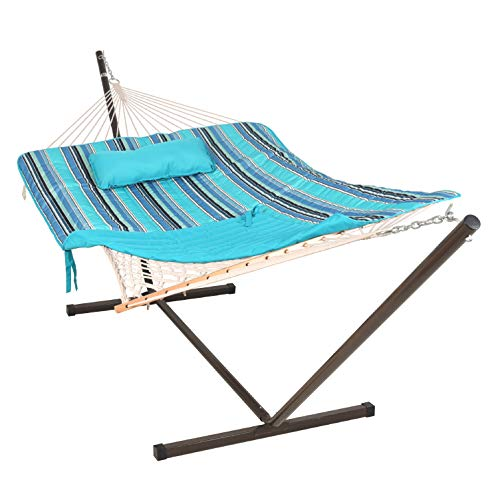 Lazy Daze Hammocks 12 Feet Steel Hammock Stand with Cotton Rope Hammock Combo, Quilted Polyester Hammock Pad, Pillow, Mag Bag and Cup Holder, Blue Ocean Stripe