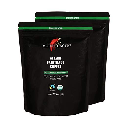 Mount Hagen 7.05 oz Organic Fair Trade Freeze Dried Decaffeinated 2 Pack Instant Coffee Resealable Doypack Bag Kosher Single-origin 100% Arabica Freeze Dried Coffee Packets, Instant Coffee For Camping
