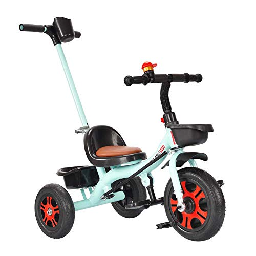 NBgycheche Triciclo Trike Triciclo 2 en 1 for niños con triciclos Bicicletas Bell, Altura Ajustable de la Mano de Empuje Polo de 1-6 años Niño Niña, Blueb (Color : Blueb)
