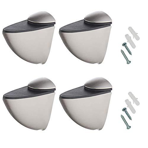 Rannb Glass Shelf Bracket Adjustable Brushed Surface Glass Clamp for Glass Shelves -Pack of 4