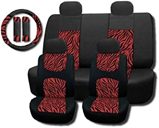 Unique Imports New and Exclusive Mesh Animal Print Interior Set Red Zebra 11pc Seat Covers Front & Back Lowback, Back Bench, Steering Wheel & Seat Belt Covers - Padded Comfort
