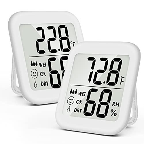 BIGKON デジタル温湿度計 2パック 温度計 湿度計 室内 大画面 高精度デュアルセンサー 温度管理 健康管理 赤ちゃん、寝室、爬虫類ペット、植物、温室、地下室におすすめ ホワイト