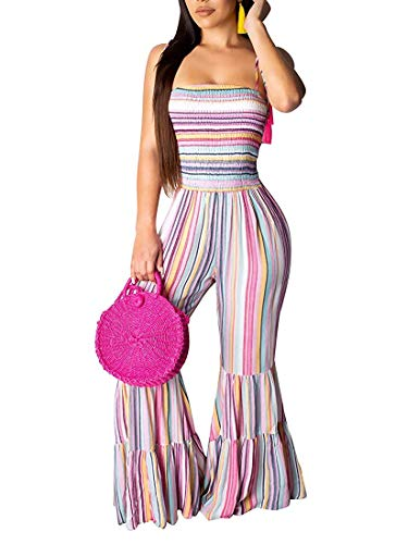 ECHOINE Sexy Bodycon Jumpsuits for Women, Striped Patchwork Backless Wide Leg Flare Bell Bottom Outfits Plus Size XL Pink