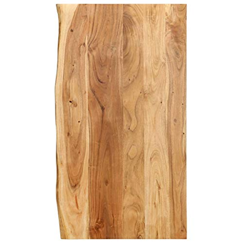 vidaXL Akazienholz Massiv Waschtischplatte Badezimmer Waschtisch Waschtischkonsole Platte Holzplatte für Aufsatzbecken Badmöbel Baumkante 100x55x2,5cm