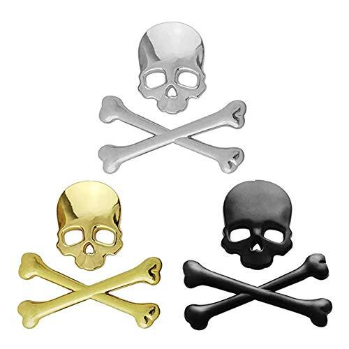 Auto Motorrad 3D Metall Schädel Emblem Aufkleber Aufkleber Logo Kotflügelhaube Universal Bike Cruiser Bobber Chopper (Gold)