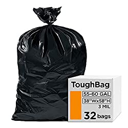 "Toughbag 55-60 Gallon Contractor Trash Bags, 38""W x 58""H, 3.0 Mil (32, Black)"