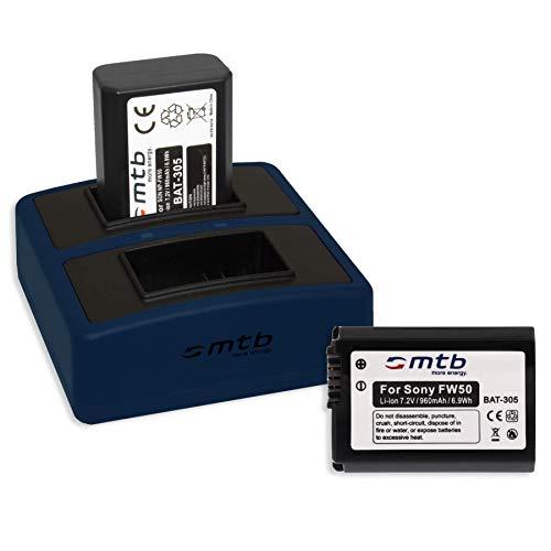 2 Baterías + Cargador Doble Compact (USB) para Sony NP-FW50 / RX10...