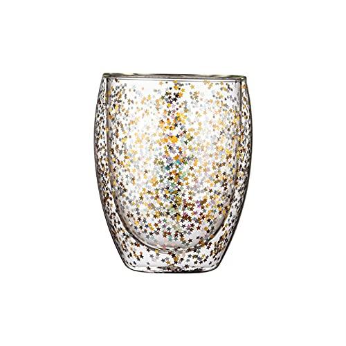 WSYGHP Taza de Cristal, Copa de Cielo Estrellado, Taza de Deseos de la Navidad de Doble Vidrio, Taza de Agua, Taza de Leche, Taza de café 350ml Vasos de Whisky (Size : 250ml)