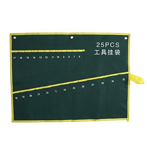 Werkzeugtasche für Schraubenschlüssel, strapazierfähig, aus Segeltuch, zum Aufrollen, vielseitig verwendbar, 6/8/10/12/14/25 Taschen (Größe: 25 Taschen)